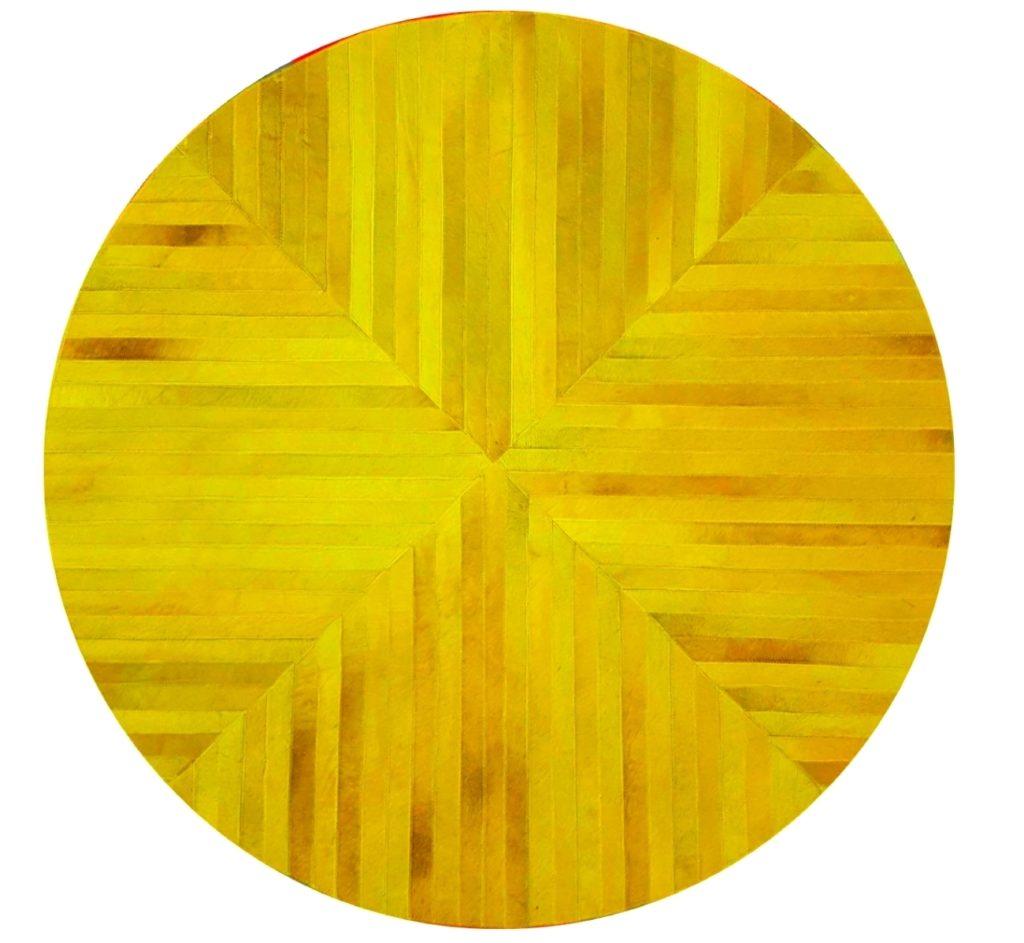 Tapis-rond-Jaune-Moutarde